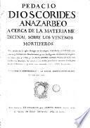 Acerca de la materia medicinal y de los venenos mortiferos