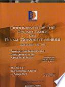 Documents of the Round Table on Rural Competitiveness. Prospects for Research and Development in the Agricultural Sector