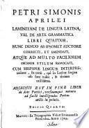 Laminitani de lingua latina, vel de arte grammatica libri quatuor