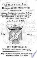 Luciano Español. Dialogos morales, utiles por sus documentos. Traducion Castellana del Licenciado D. F. de Herrera Maldonado. Few MS. notes