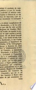Real Cedula de 19 de diciembre de 1795, por la qual se sirve S. M. aprobará consulta de la Suprema Junta de Comercio, y Moneda el reglamento que ha propuesto el consulado de comercio de Barcelona para el registro de los contratos de cambios marítimos que se celebren en el principado