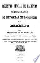 Rejistro oficial de hacienda publicado de conformidad con lo dispuesto en el Decreto del Presidente de la Republica espedido el dia 31 de diciembre de 1844